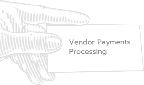 hand holding card that says 'vendor payment processing'